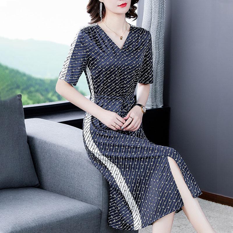 2020新款35一45夏装年轻妈妈连衣裙收腰简单高贵长裙高级感洋气质