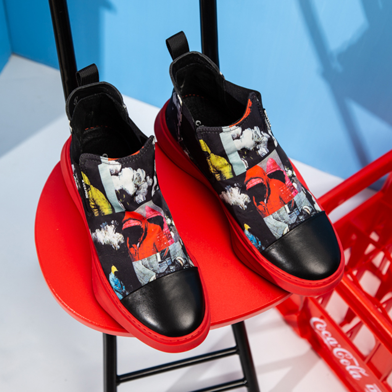 Mens hip hop high top board shoes in autumn and winter of 2019