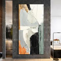 玄關裝飾畫現代簡約抽象畫豎版走廊過道壁畫玄幻北歐客廳油畫掛畫
