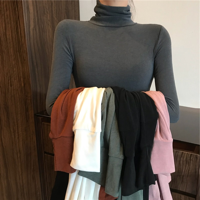 Net red ins high neck bottom top womens autumn winter 2020 early autumn new top with long sleeve T-shirt