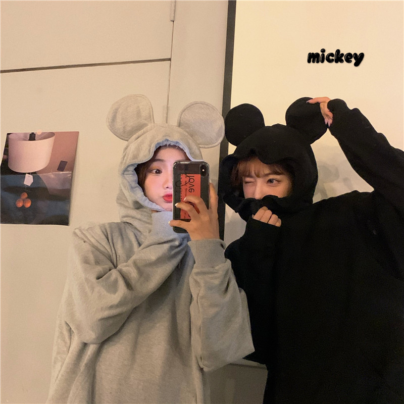 3D cartoon Mickey ear Hooded Sweater 2020 new multi person boudoir funny loose ins Fashion Top
