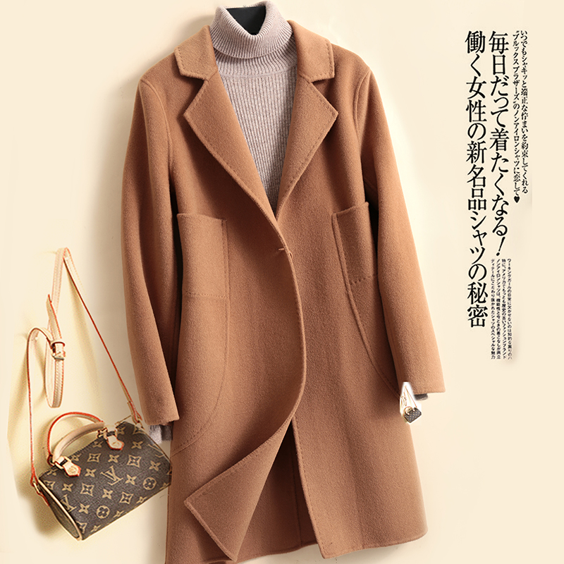 Double sided wool coat womens middle long new popular winter suit collar Japanese department woolen coat