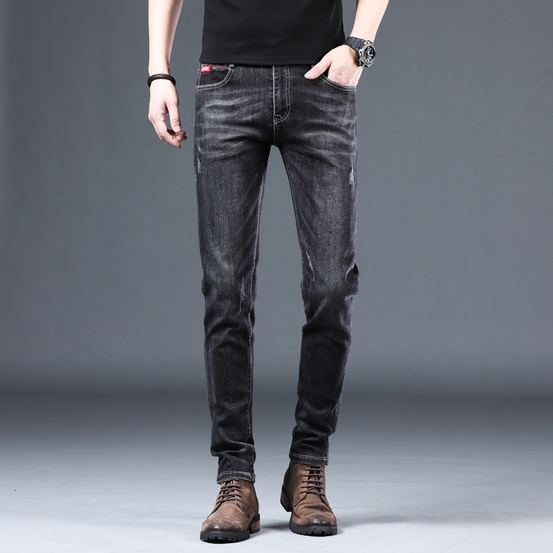 Jeans mens new micro elastic Korean version tide brand mens long pants middle waist youth casual mens jeans