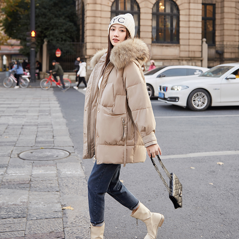 Womens medium and long style down jacket with large hairneck in 2020 fashionable new fashion new style Korean coat white duck down British Park