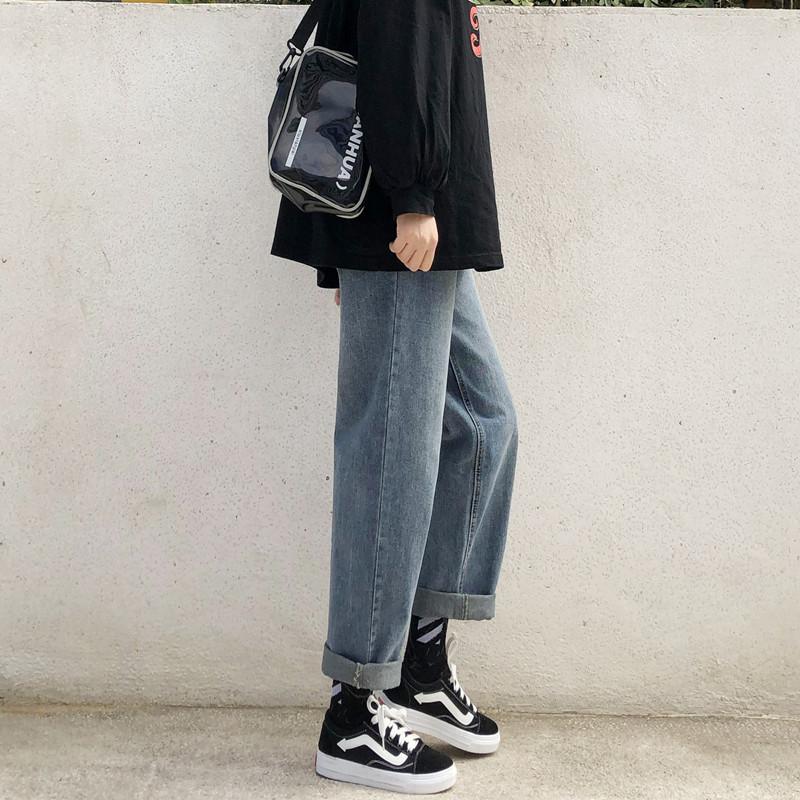 cec复古牛仔裤女直筒宽松2020新款高腰显瘦学生百搭垂感阔腿裤子
