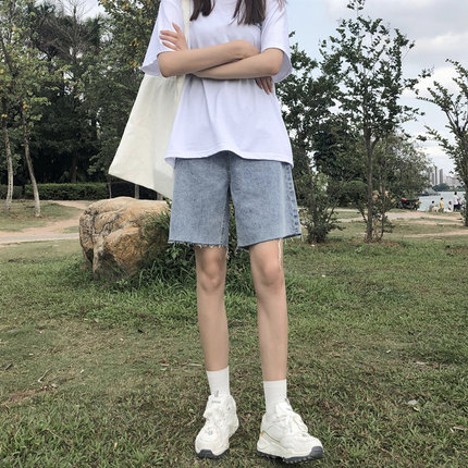 五分牛仔裤女2020年新款中裤夏季宽松直筒港味高腰显瘦短裤5分潮