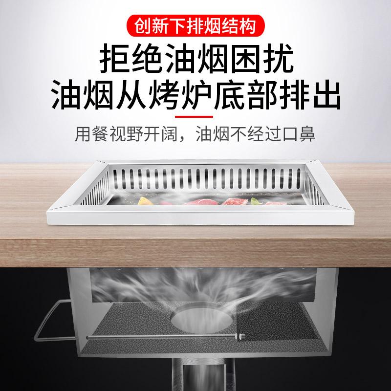 欣耀下排烟碳烤炉长方形韩式下排风烤锅烤肉炉地排风烤炉商用风机