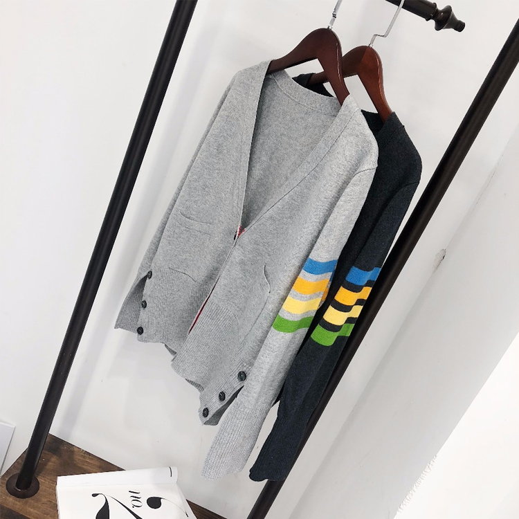 TB wool cashmere cardigan womens color sleeve fashion brand V-neck 2021 spring new European station fashion sweater knitwear