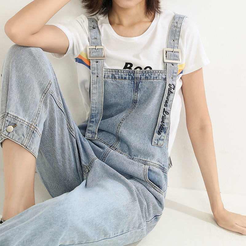 Womens jeans spring 2020 new Korean version of loose cover meat show high nine point straight tube wide leg Suspenders
