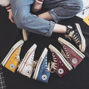 秋冬高帮帆布鞋1970s新款韩版棉鞋