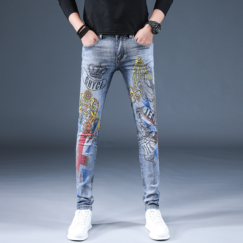 High end jeans with embroidery and printing in spring