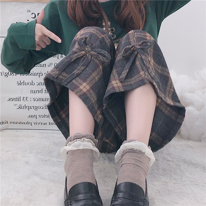 Spring dress women 2019 new Japanese student girl sweet and lovely loose Plaid wide leg pants casual pants