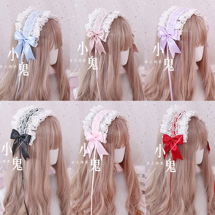 Lolita hair hoop flower married God of love angel handle Lo mother versatile lace KC hair band bow Lolita head ornament