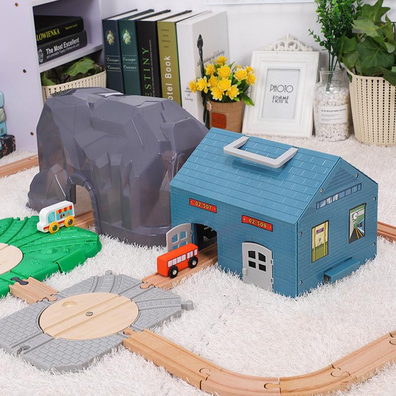 火车轨道场景配件车库大山起重机吊塔双层站台兼容BRIO米兔宜家