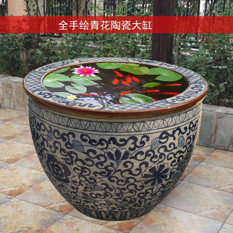 陶瓷鱼缸大号特大景德镇大口荷花睡莲缸青花瓷老式水缸庭院书画缸,可领取15元天猫优惠券
