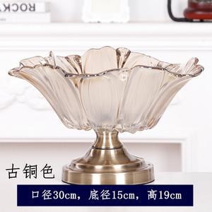 欧式玻璃果盘家用创意现代客厅大号荷叶供果盘茶几摆件ktv水果盘