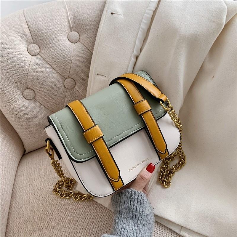 Paili包包女2020新款时尚百搭撞色韩版学院风邮差复古单肩斜挎包