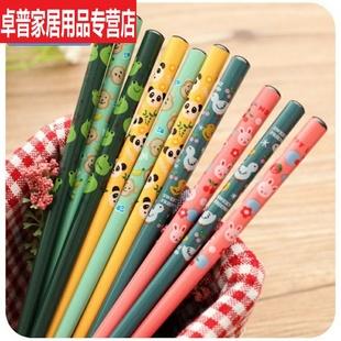 筷子木头可爱木质双双防滑家用1实木子竹筷木筷家庭套装10成人日
