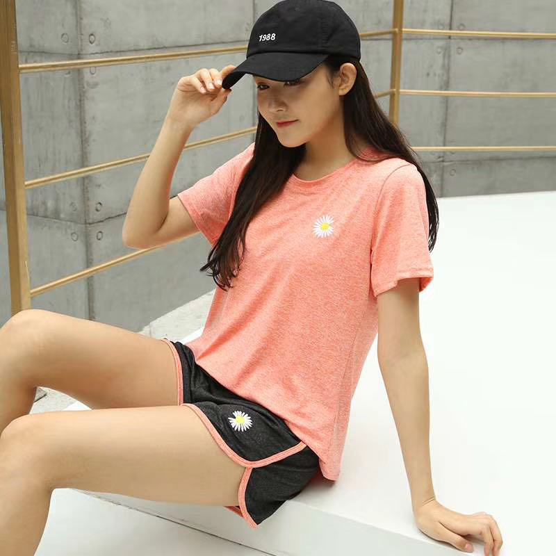Spring and summer Daisy quick drying suit net red Yoga suit gym running womens loose skinny sports suit