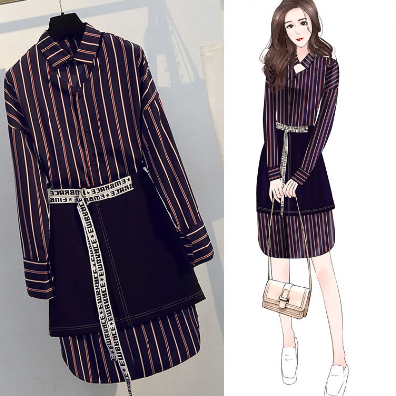Fashion large womens autumn 2020 new striped shirt dress fat sister cover belly show thin suit two piece set