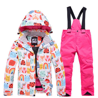 Children's ski clothing suits girls outdoor snowboard and ski pants winter snow town travel warm ski clothing