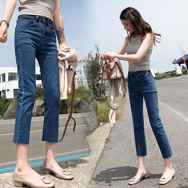 直筒牛仔裤女夏天薄款2021年夏季新款女士烟管高腰显瘦小个子裤子