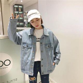 春秋女装韩版复古宽松百搭工装牛仔夹克短款外套做旧休闲上衣学生