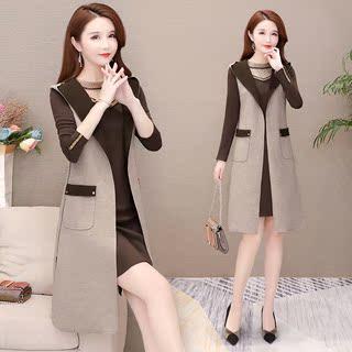 套装2019冬季新款大码女装韩版气质显瘦百搭时尚裙子洋气两件套潮