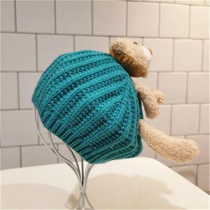 宝宝帽子秋冬季女童可爱小熊贝雷帽针织毛线帽儿童八角帽卡通帽子