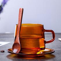 创意北欧琥珀色玻璃咖啡杯耐高温家用带把早餐杯男女办公茶杯水杯