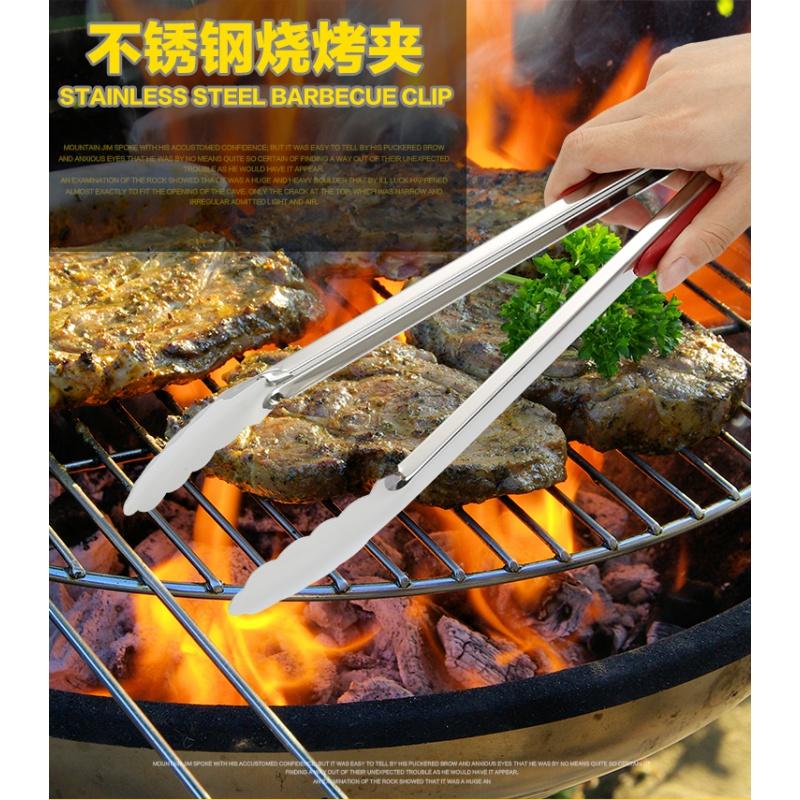 食品夹防烫不锈钢厨房夹用烤肠食物夹夹肉夹面包熟食夹菜夹子商用