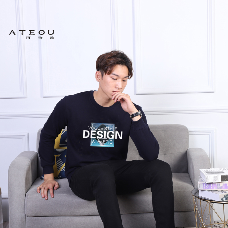 Autumn and winter long sleeve fattening sweater Plush thickening Korean loose round neck Pullover mens new Sweatshirt