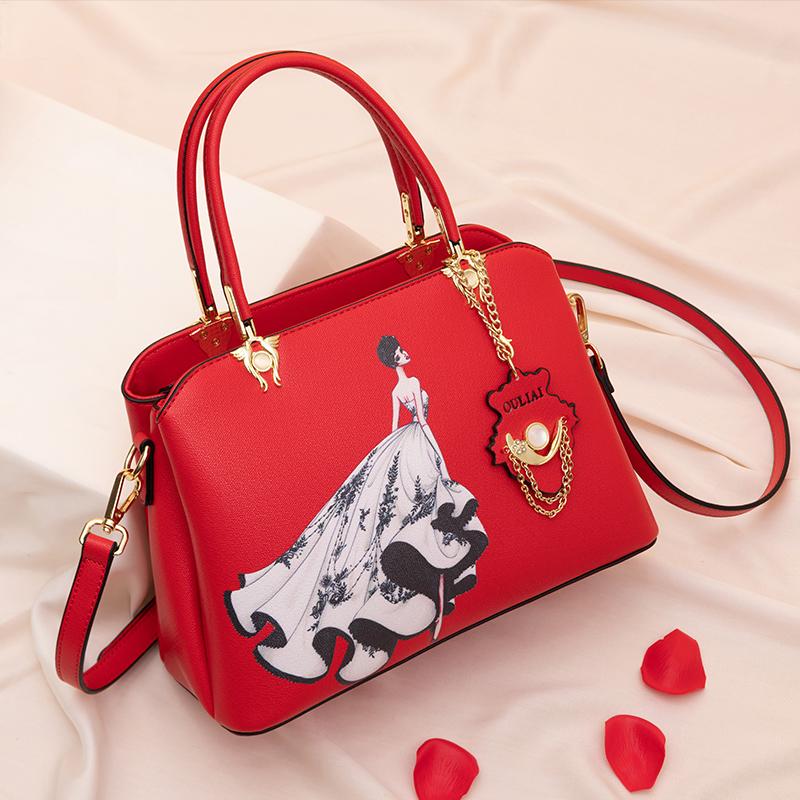 结婚包包新娘包2020新款时尚印花大红色结婚包婚礼用手提包伴娘包