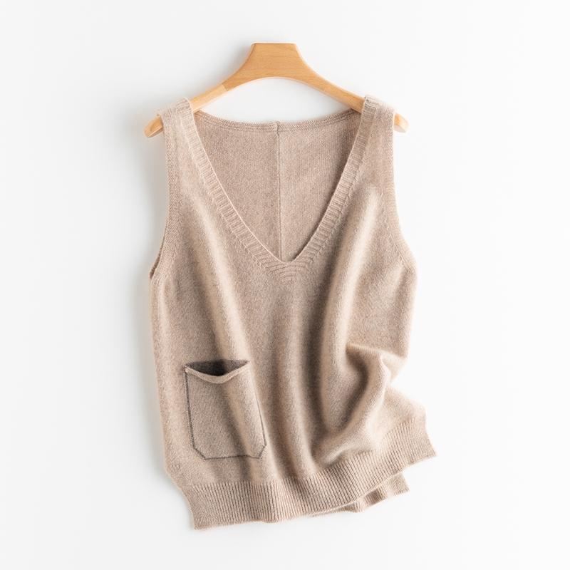 All cashmere sleeveless vest with drawstring for womens knitted waistcoat spring and autumn Korean loose V-Neck Sweater shoulder