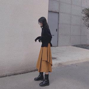 卡其色a字裙不规则遮胯裙子显瘦半身裙秋冬中长款女高腰长裙港味