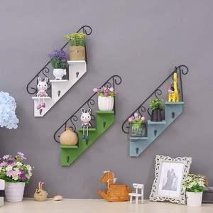 墙上装饰品墙面装饰创意家居卧室墙饰挂钩铁艺壁挂小花架壁饰隔板