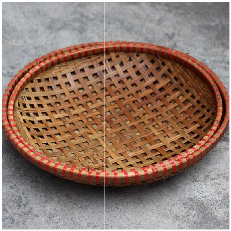 镂空洗菜竹编托盘沥水箩筐竹篮竹筐家用藤编放食品餐具水果晒篮