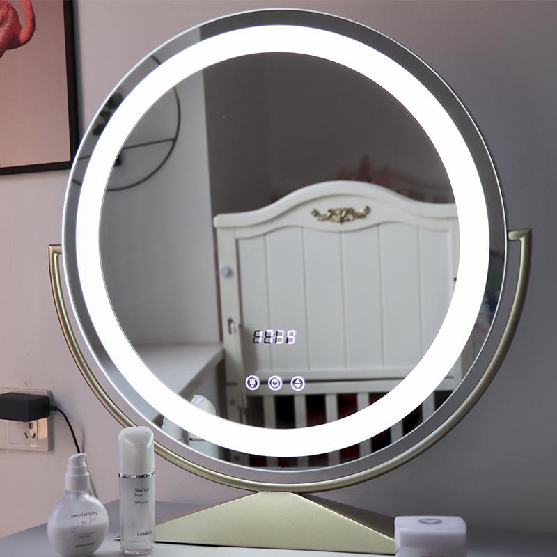 圆形led带灯化妆镜大号台式桌面梳妆镜便携ins旋转网红化妆补光镜
