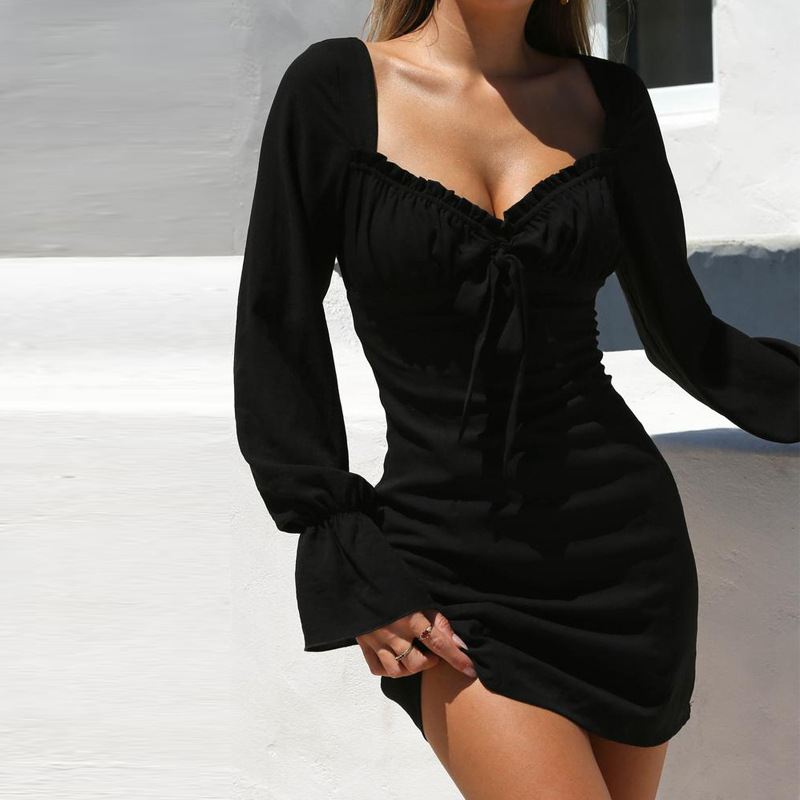 2019 bell sleeve tube top lace dress dress women's clothing