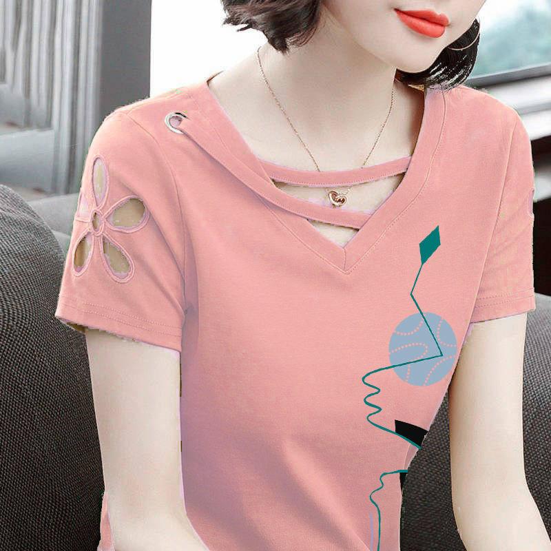 夏装修身显瘦纯棉短袖t恤女V领半袖大码打底衫上衣休闲ins体恤潮