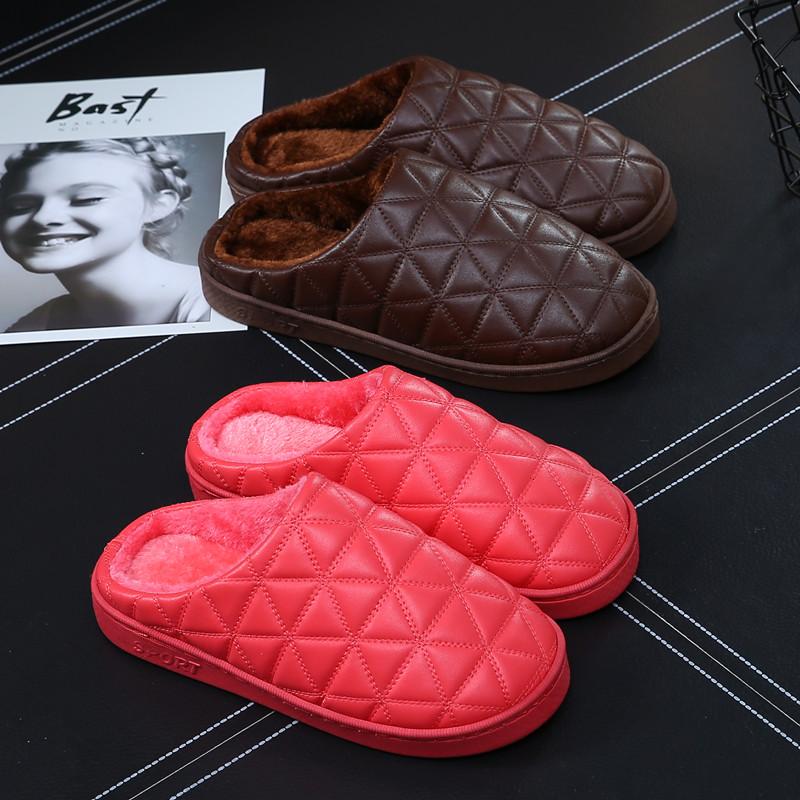 冬季皮棉拖鞋男居家用室内防水保暖包跟厚底情侣pu皮面毛毛拖鞋女