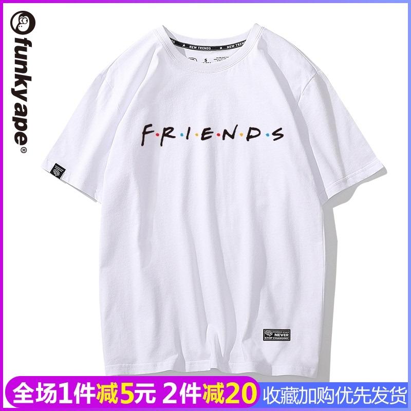 老友记Friends短袖女欧美个性简约文字半袖美式宽松大码bf风t恤