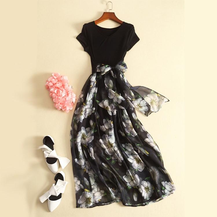 欧洲站小香风修身大摆短袖长裙超仙女夏季新款收腰显瘦气质连衣裙