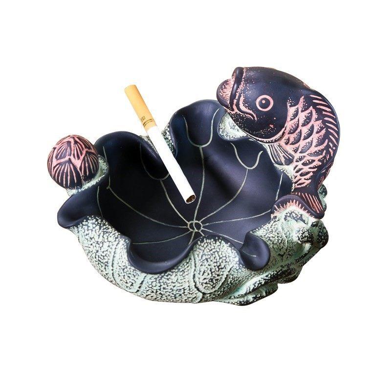 f年年有余烟灰缸 送领导同事朋友高档礼品男士办公室工艺品小摆.