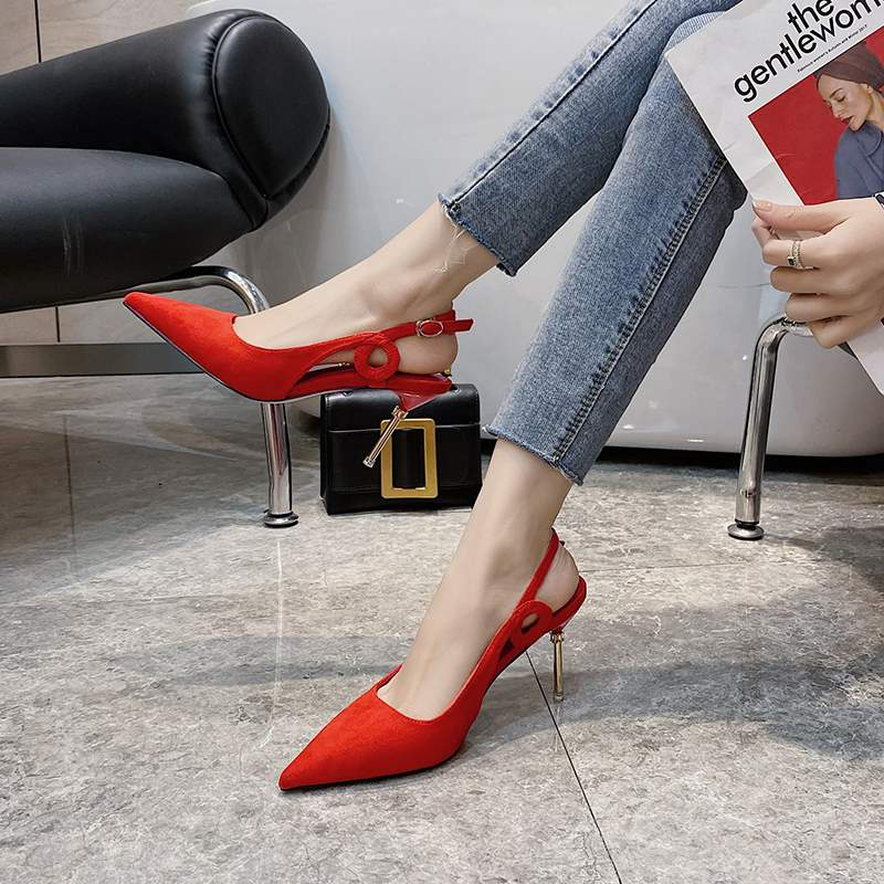 Red wedding shoes womens new European and American pointed suede high heel shoes in the summer of 2021