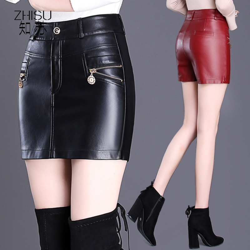 Leather shorts womens autumn and winter 2019 new fashion show thin PU leather pants skirt large size bag hip fake two short skirt pants boots pants