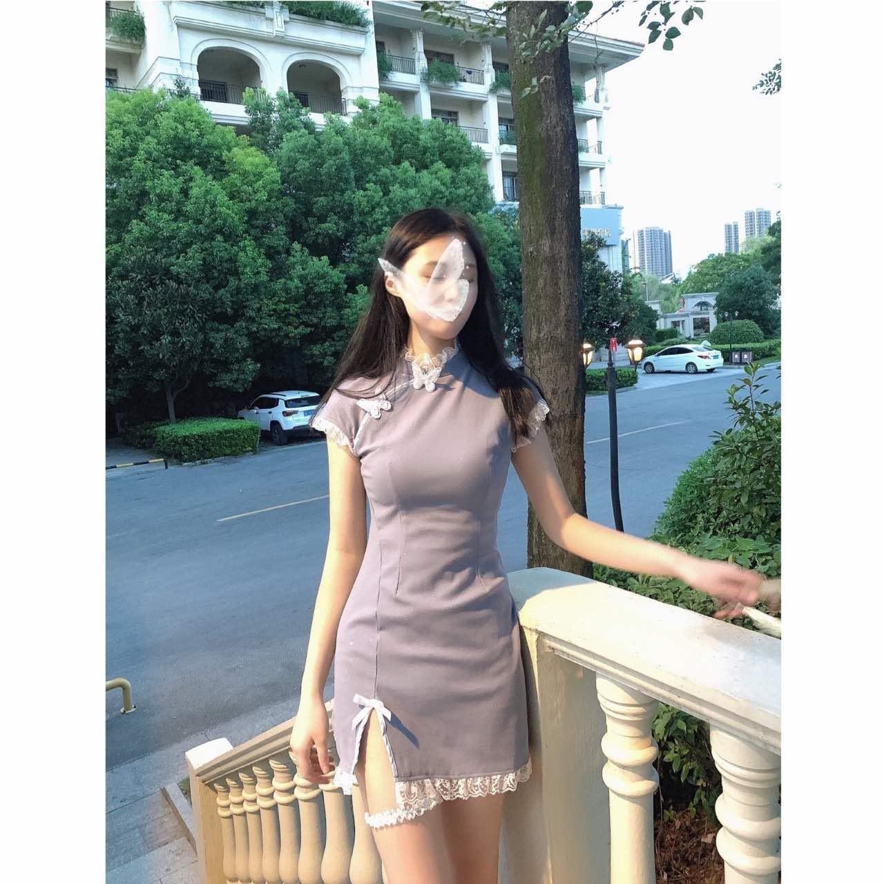 改良甜美蝴蝶旗袍开叉连衣裙洛丽塔又纯又欲的旗袍短裙温柔可爱裙