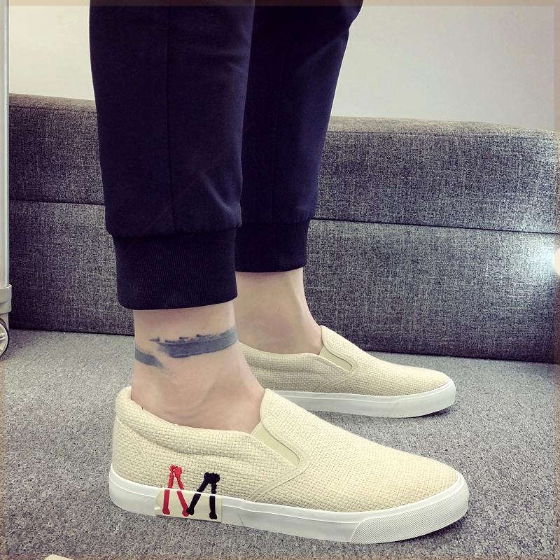 鞋子男装男鞋没鞋带休闲韩版夏季板鞋初中生无鞋带懒汉鞋男装布鞋