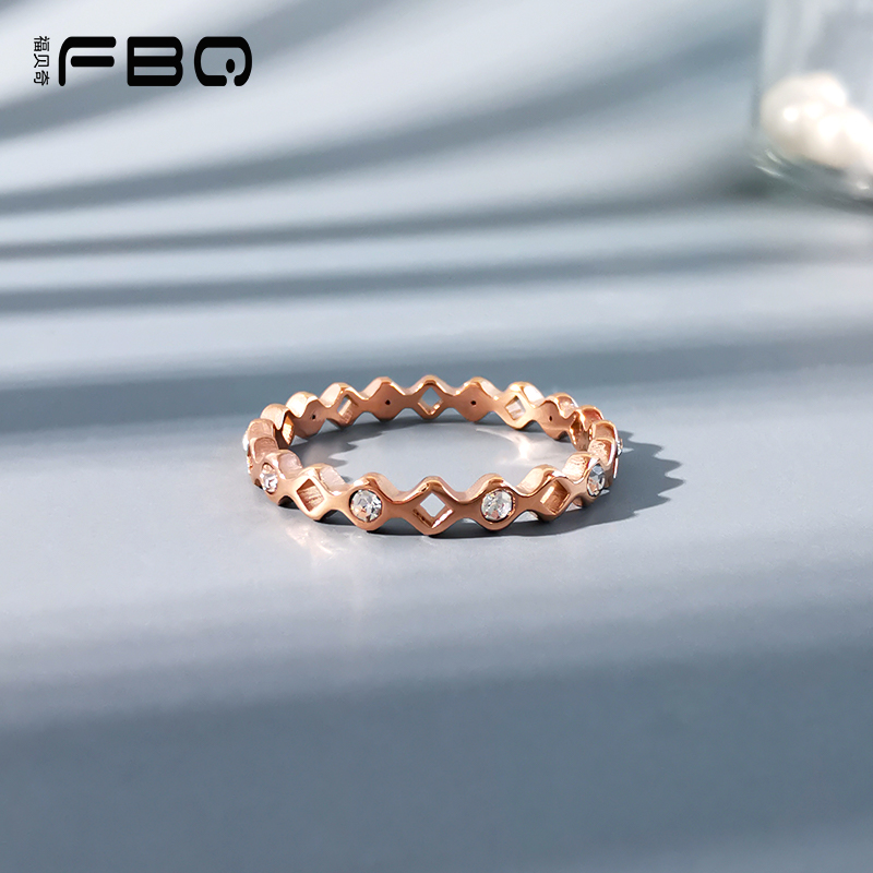 [fubeiqi] rose gold ring cold wind simple Korean ring couple with Rhinestone index finger ring men and women