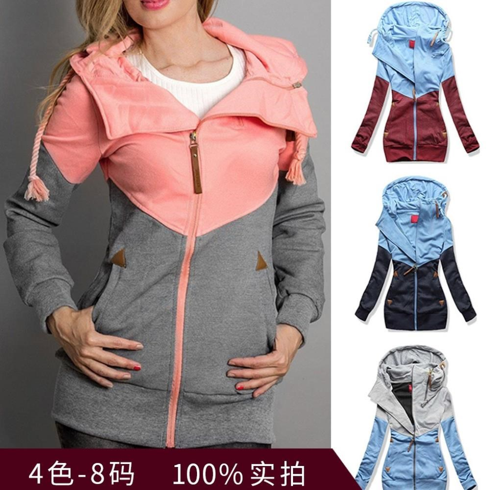 Double zipper color matching hooded long-sleeved add wool